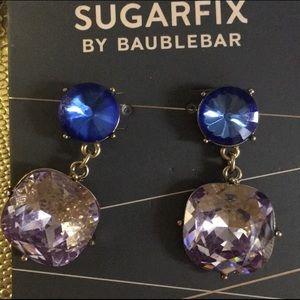 Blue & pink rhinestone earrings Baublebar NWT